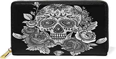 black and white zippered ID pouch Tiny skull and bones print wristlet wallet