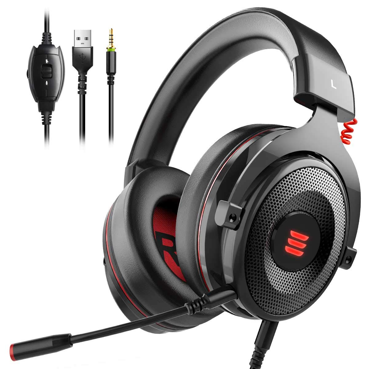 EKSA E900 Gaming Headset Xbox One Headset with 7.1 Surround Sound, PS4 Headset Noise Cancelling Over Ear Headphones with Mic&LED Light, Compatible with PC, PS4, Xbox One Controller, Nintendo Switch by EKSA