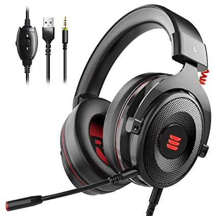 EKSA E900 Gaming Headset Xbox One Headset with 7 1 Surround Sound, PS4  Headset Noise Cancelling Over Ear Headphones with Mic&LED Light, Compatible