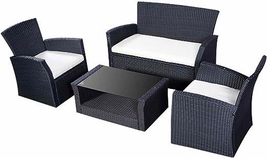 Salón de jardín resina trenzado de ratán conjunto muebles de jardín negro: Amazon.es: Jardín