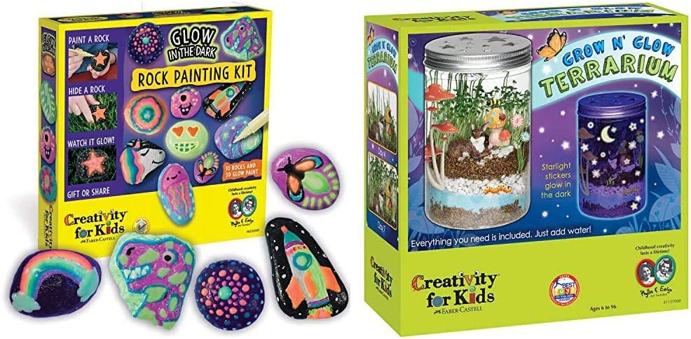 Creativity for Kids Glow in The Dark Rock Painting Kit - Paint 10 Rocks with Water Resistant Glow Paint - Crafts for Kids & Grow 'n Glow Terrarium