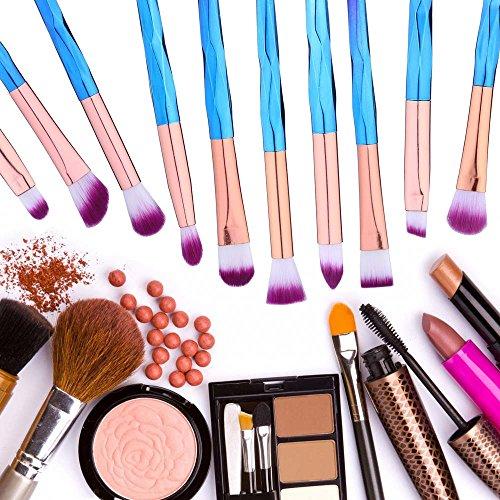 Eye Brush Set Professional 10 Pieces Eye Makeup Brushes for Shading or Blending of Eyeshadow Cream Powder Eyebrow Highlighter Concealer Cosmetics Brush Tool