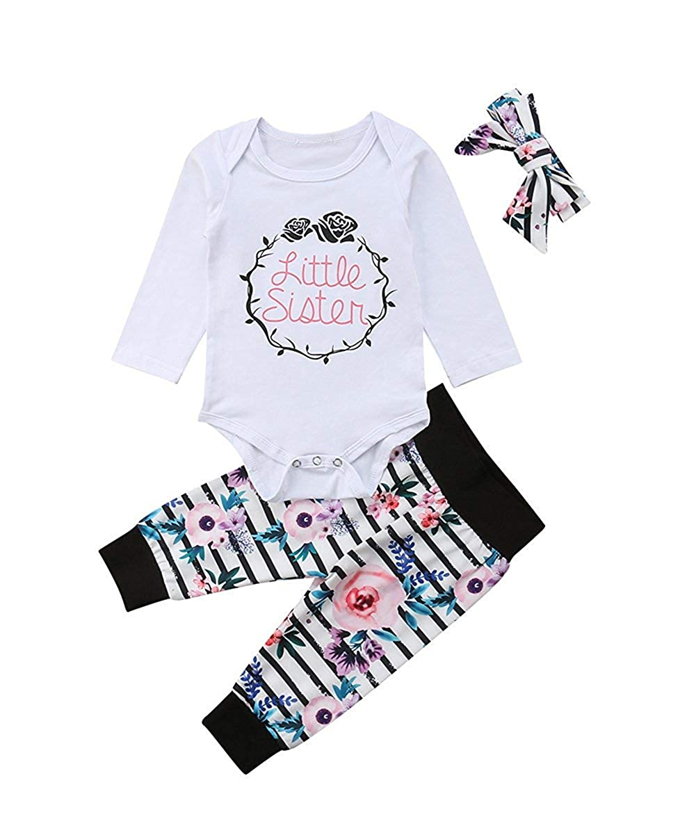 Newborn Baby Girl Clothes Little Sister Letter Print Romper Top, Floral Leggings Pants +Cute Headband 3Pcs Outfit Set Xuuly