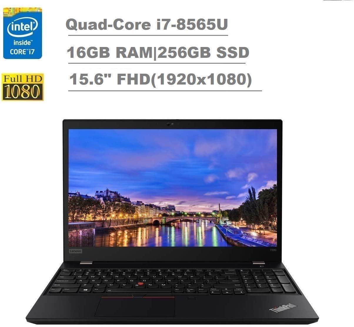 "2020 Lenovo ThinkPad T590 15.6"" FHD Full HD (1920x1080) Business Laptop (Intel Quad-Core i7-8565U, 16GB RAM, 256GB SSD) Backlit, Type-C Thunderbolt 3, RJ-45, Webcam, Windows 10 Pro IST Computers"