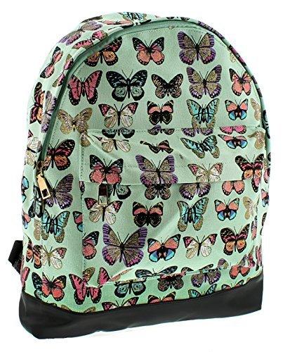 NEU Damen / Damen neuwertig Schmetterling Aufdruck Rucksack mit Reißverschluss Top Verschluss - NEUWERTIG / MULTI - UK Größen 1-1