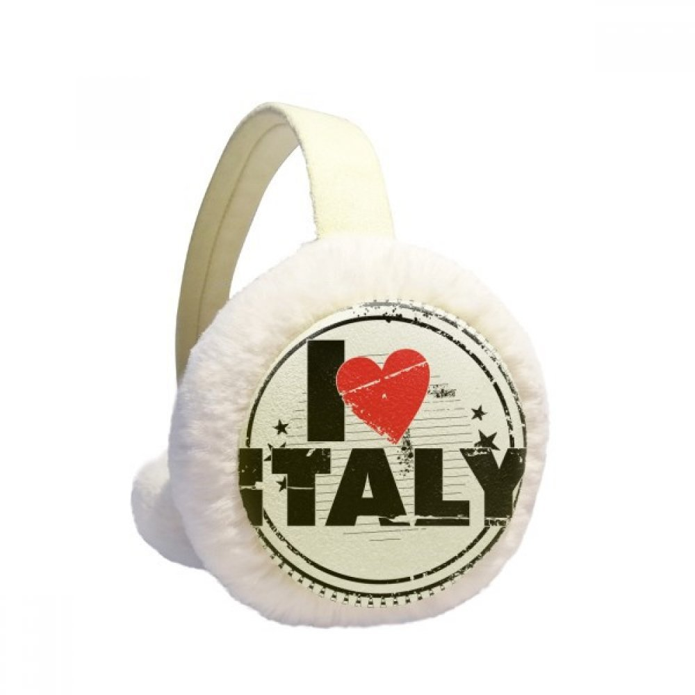 I Love Italy Word Love Heart Circle Stamp Winter Earmuffs Ear Warmers Faux Fur Foldable Plush Outdoor Gift