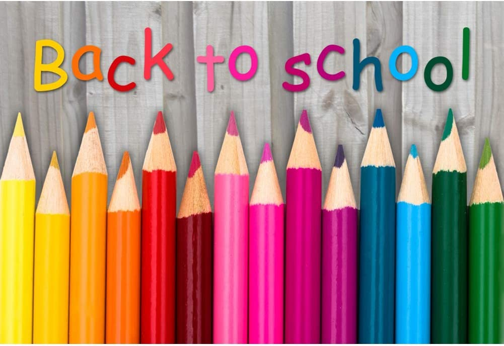 Baocicco 5x3ft Back to School Backdrop Wood Backdrop Colorful Crayon Photography Background Rustic Style Wallpaper Decor New Term School Season Children Students Portrait Studio Video Prop