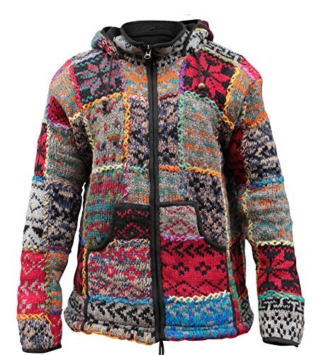 SHOPOHOLIC FASHION - Veste hippie pour hommes encolure montante multicolore