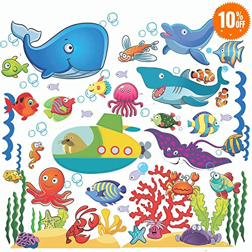 Fish Wall Stickers for Kids, Under The Sea Wall Decals for Toddlers' Bathroom, Bedroom, Window, Bathtub, Baby's Nursery, and Children's Classroom, Removable Peel and Stick Ocean Decor That Clings]()
