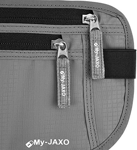 My-Jaxo Premium Family Waterproof RFID Slim Fanny Pack Money Running Belt for Travel Women and Men Waist Bag Pouch - Travel belt for Money and Passport Black or Grey…