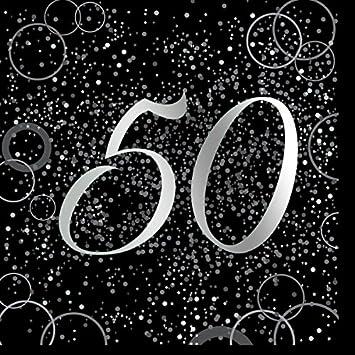 Unique Party- Paquete de 16 servilletas de papel de 50 cumpleaños, Color plateado metálico brillante (57482)