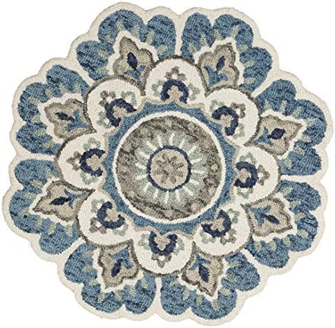 LR Home Edged Flora Area Rug, 6 Round, Blue