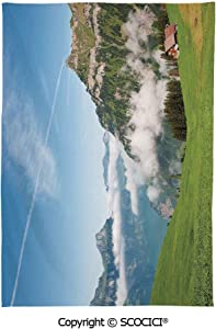 SCOCICI Spring and Easter Dinner Tablecloth,Mountain,Pastoral View Switzerland Lake Lucerne Cloudy Grassland Pines Altdorf Uri,Blue Green White