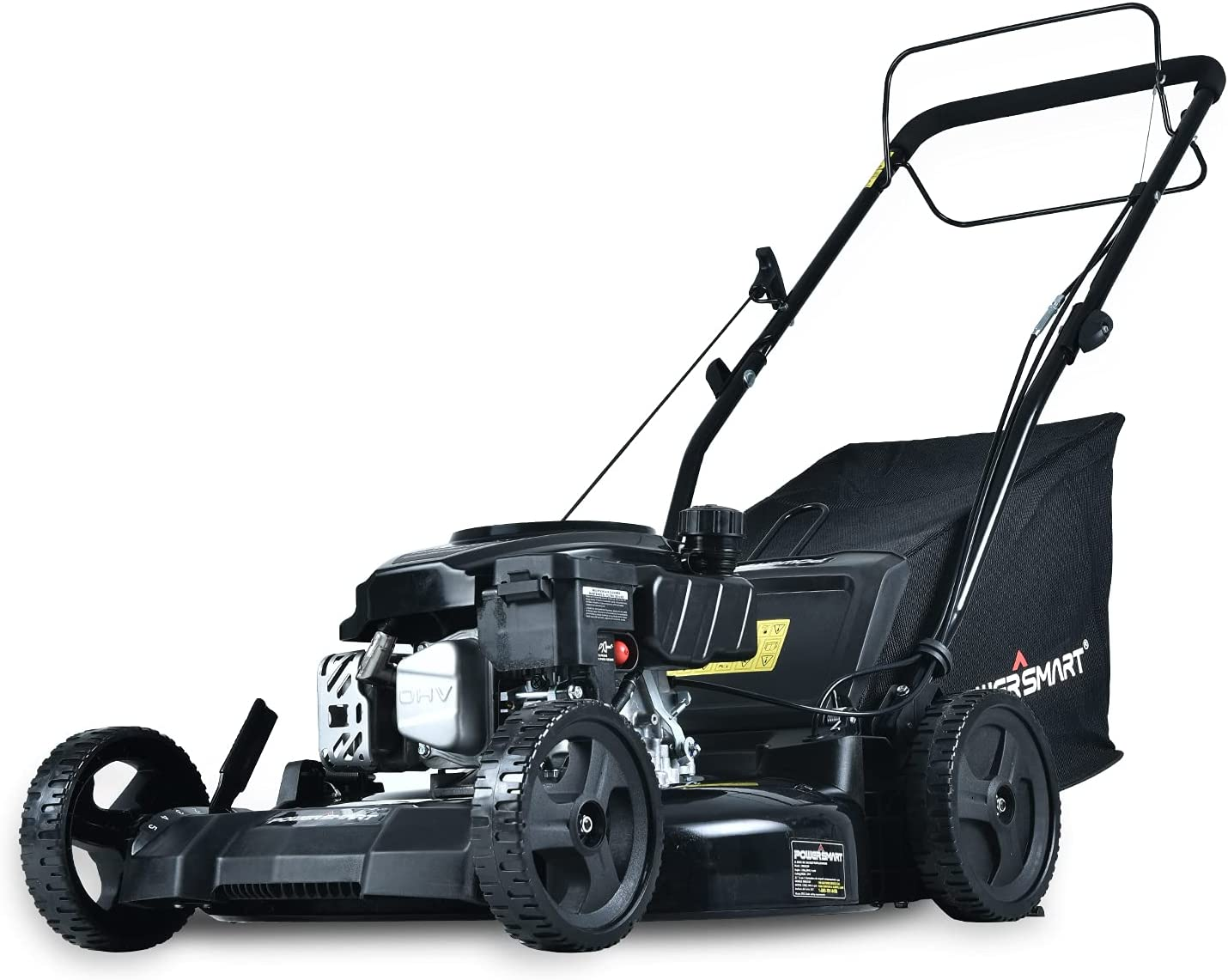 PowerSmart Lawn Mower, 21-inch & 170CC, Gas Powered Self-Propelled Lawn Mower with 4-Stroke Engine, 3-in-1 Gas Mower in Color Black, 5 Adjustable Heights (1.18''-3.0'' ), DB8621SR