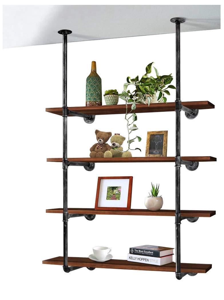 DIYHD CPIPESHELF 55'' 4 Layers Industrial Black Kitchen Storage Ceiling Floor Mount Pipe Shelf Bracket