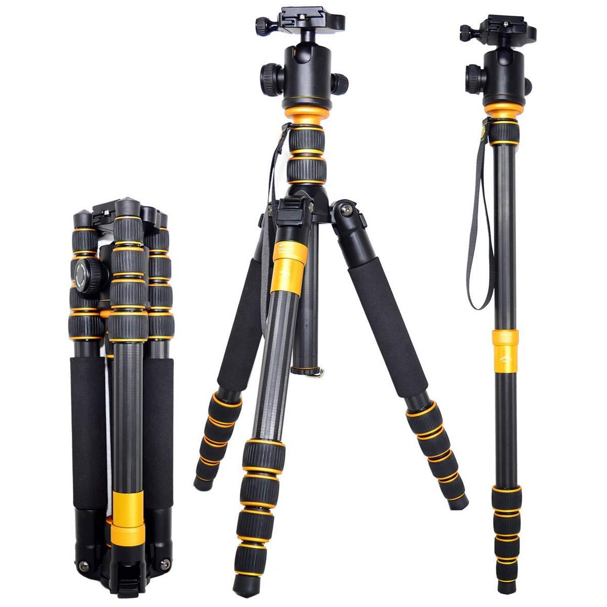 DZSM ポータブルマグネシウム合金三脚キット & ボールヘッドコンパクトトラベル一脚 すべてのカメラとビデオカメラ用 159CM   B07MW94GXF