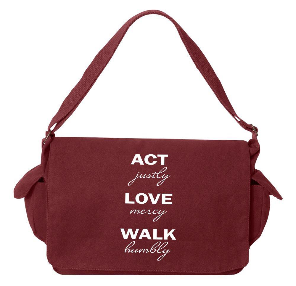 Tenacitee Act Justly Love Mercy Walk Humbly Maroon Brushed Canvas Messenger Bag