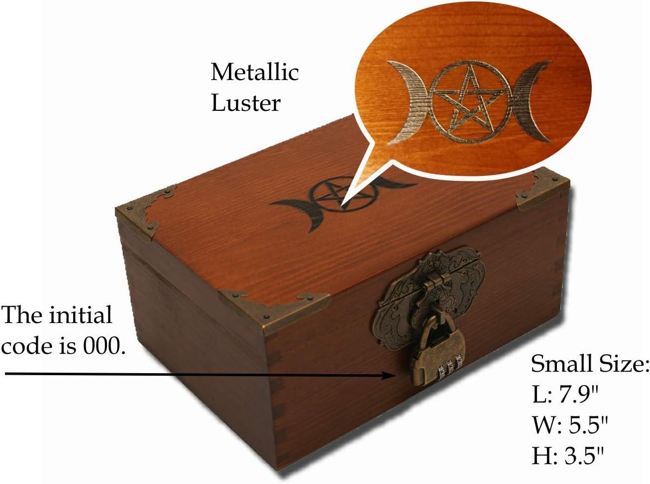 7 Pentagram Wood Carved Box Crystal Box 5 Point Star Flowers Hand Carved Storage Box Jewelry Box