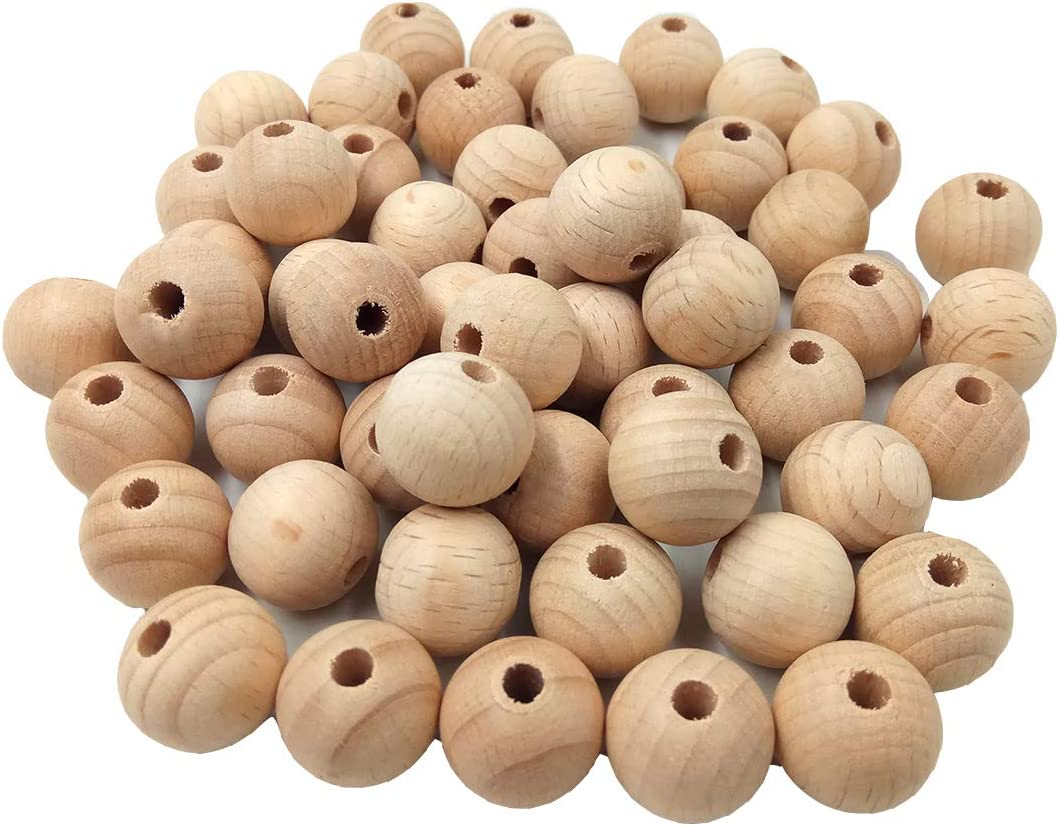 Alenybeby 500Pcs Natural Round Wood Beads Teether 12Mm Handmade Beech Wooden Loose Bead für Baby Teether Necklace Bracelet Jewelry Making (500Pcs)