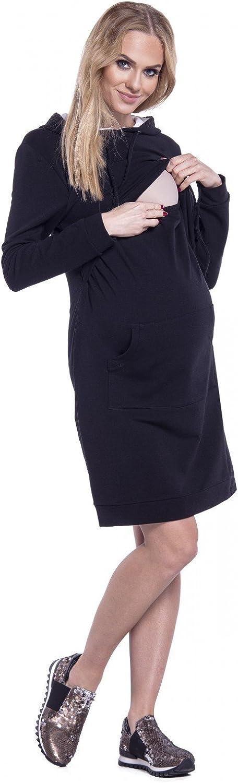 208p Happy Mama Womens Maternity Nursing Hooded Sweatshirt Dress Layer Design