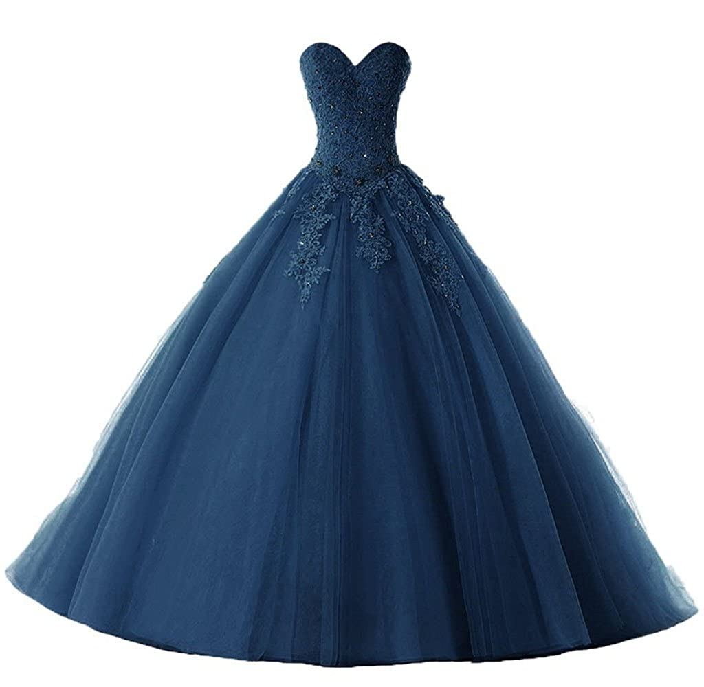 Dark Navy Vantexi Women's Elegant Lace Tulle Prom Ball Gown Quinceanera Dresses