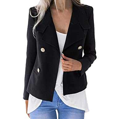 9b5c1b6798 Womens Jackets Binmer Solid Open Front Long Sleeve Blazer Casual Short  Jacket Coat (S