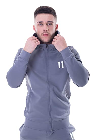 e4baedd89748 11 Degrees Hoodie Core Poly Tracksuit Top - Steel Grey: Amazon.co.uk:  Clothing