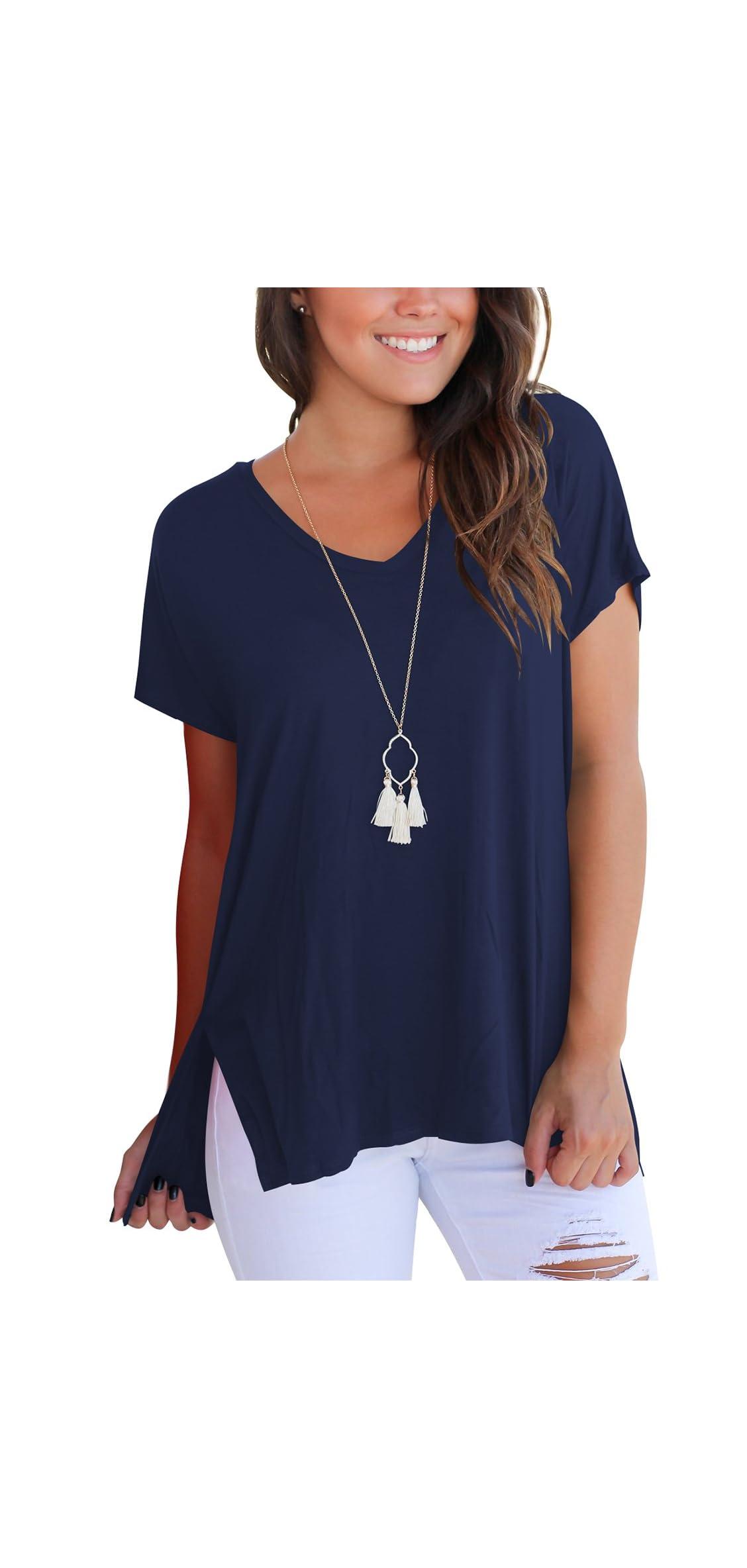 Womens Short Sleeve T Shirt V Neck Loose High Low Tee