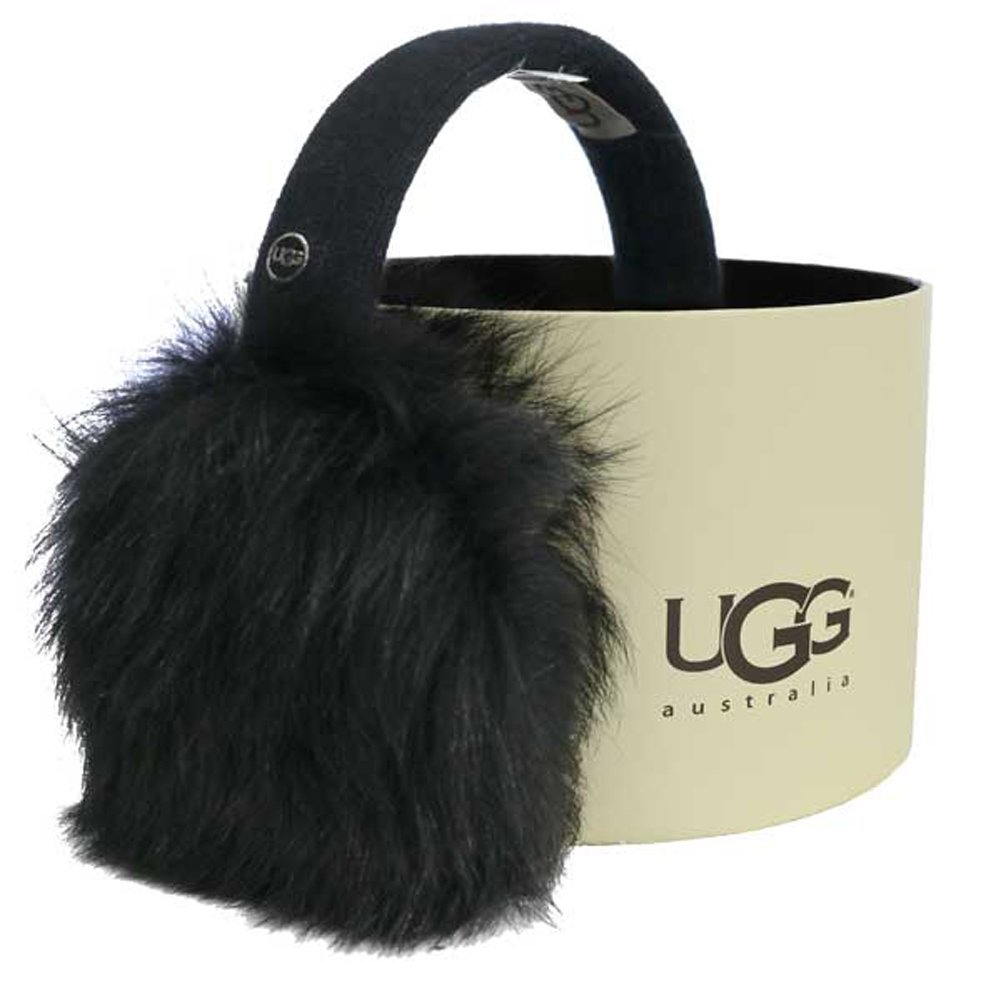 UGG Womens Wired Luxe Earmuff With Toscana Fur In Black by UGG