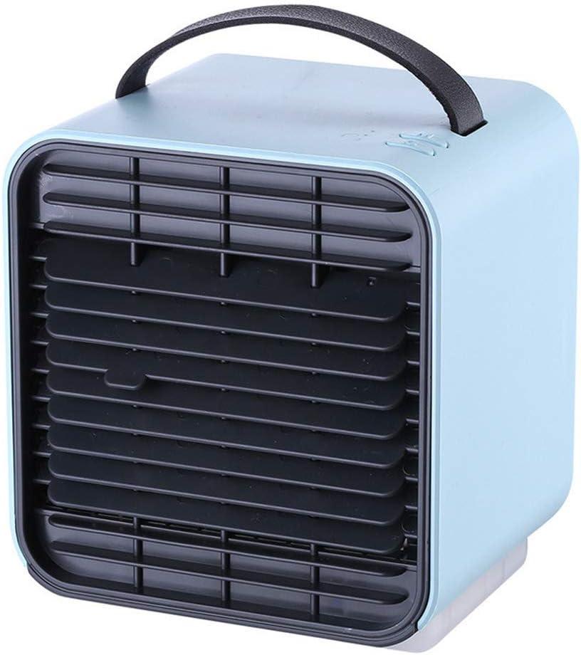 Mini-aire acondicionado USB de 5 pulgadas Ventilador de mesa silencioso recargable Ventilador de enfriamiento de aire portátil de viento de 3 velocidades con lámpara de noche para la oficina,Azul