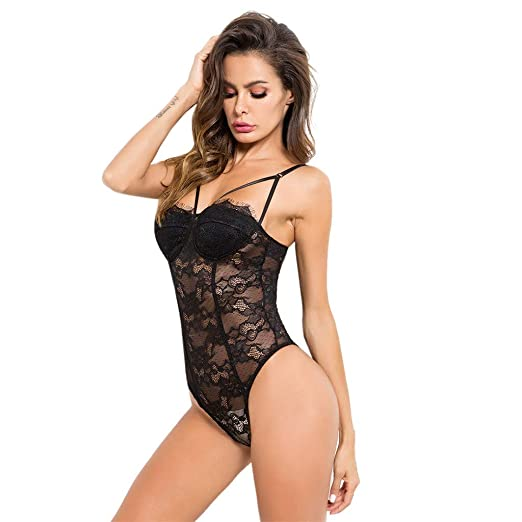 Image Unavailable. Image not available for. Color  Women Sexy Lingerie Deep  V Lace Babydoll Halter Mini One-Piece Teddy Bodysuit ... 390e0f3e5