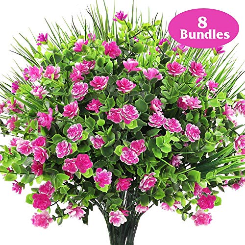 AGEOMET 8pcs Artificial Plastic Flowers Fake Outdoor UV Resistant Plant Eucalyptus Bushes Wheat Grass for Outdoor Courtyard Wedding Indoor Home Office Decoration (Rose Red)