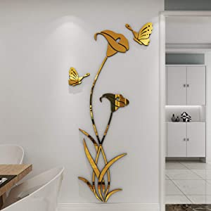 YINASI 3D DIY Flower Shape Crystal Acrylic Wall Stickers& Murals for Entranceway, Living Bedroom Dining Room Décor Home Decoration(Gold)