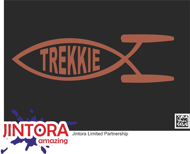 JINTORA Etiqueta para el Coche/Etiqueta engomada - Peces Trekkie - 210x63 mm - JDM/Die Cut - Coche/Ventana/Laptop/Tuning - Blanco