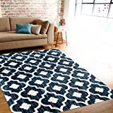 """Rugshop New Modern Moraccan Trellis Soft Area Rug, 7'10"""" x 10'2″, Blue Review"""