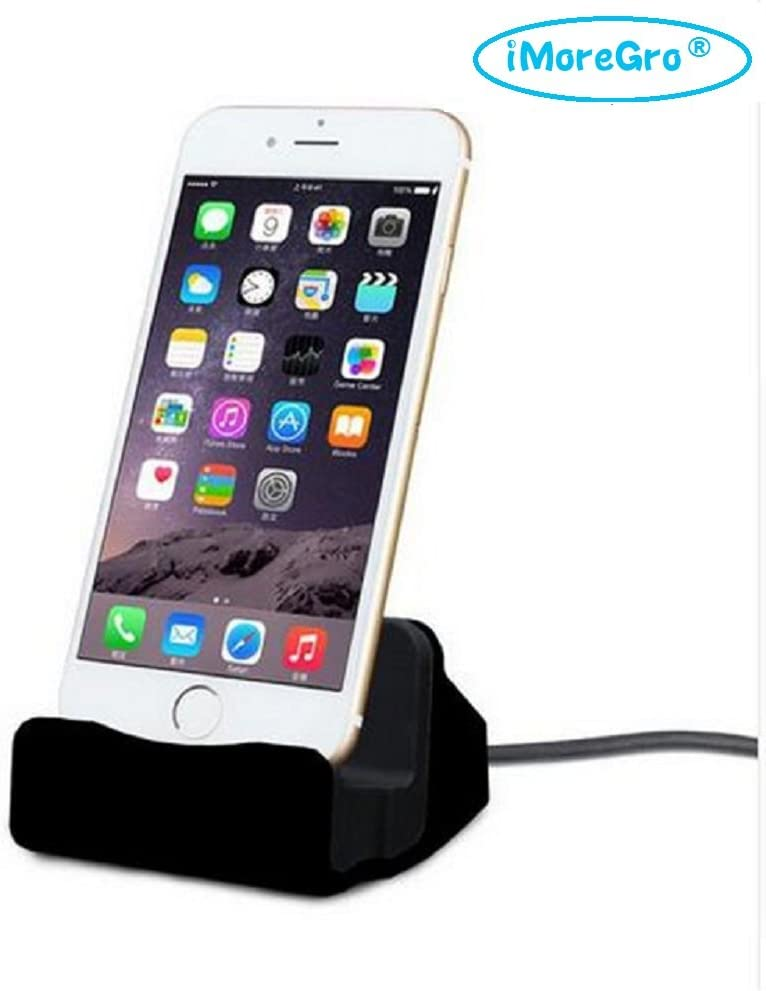 iMoreGro Phone Dock Charging Stand Dock Station Compatible with Phone X/8/8 Plus/7/7Plus/6/6 Plus/6s/6s Plus/5/SE(Black)