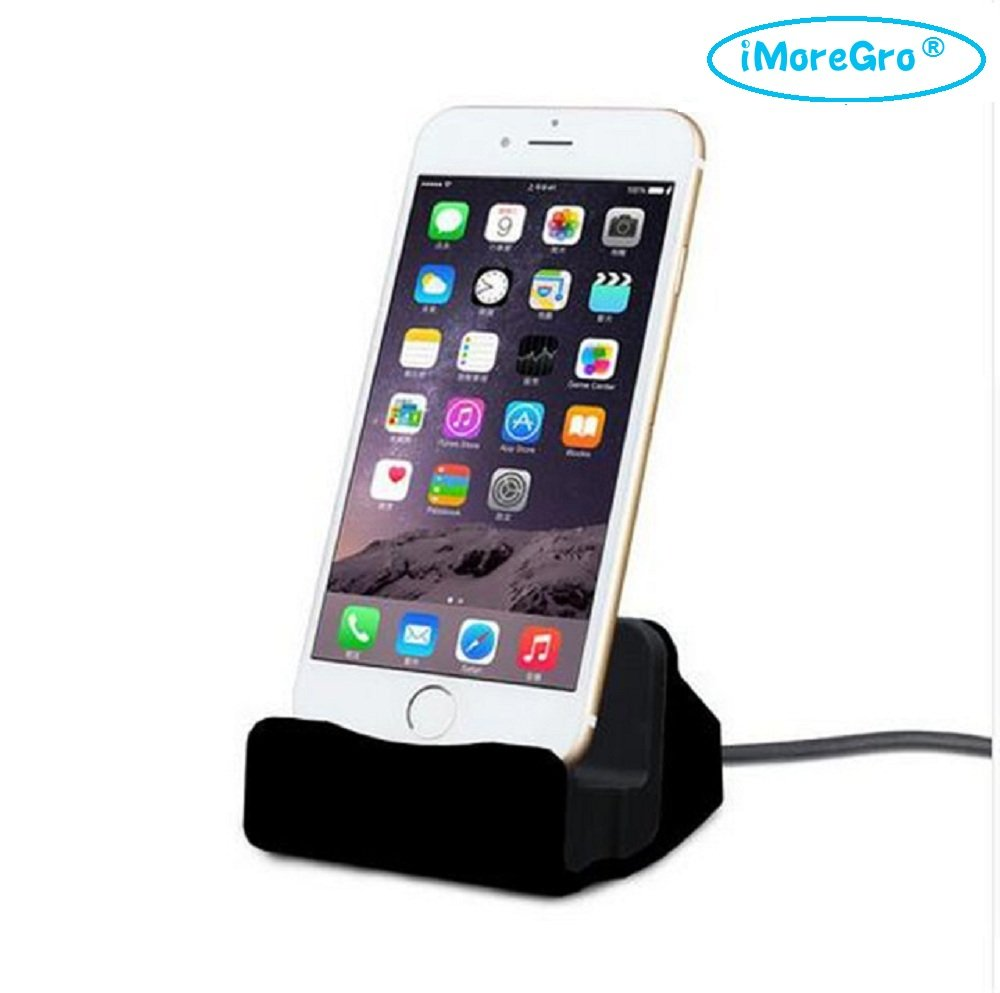 I Phone Dock, I More Gro Lightning Dock I Phone Stand For Apple I Phone 7/7 Plus/6/6 Plus/6s/6s Plus/5/Se,I Pad Mini, I Pod Touch (Black) by I More Gro