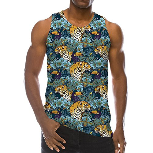 Skateboard Tank - Mens 3D Printed Bro Guys Tank Top Tropical Palm Coco Tees Holiday Beach Sleeveless Casual Cool Running Novelty T Shirts L