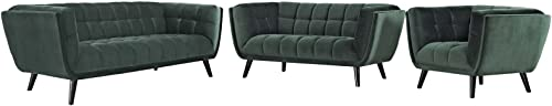 Modway Bestow Upholstered Velvet Button-Tufted Sofa, Loveseat and Armchair 3-Piece Set in Green