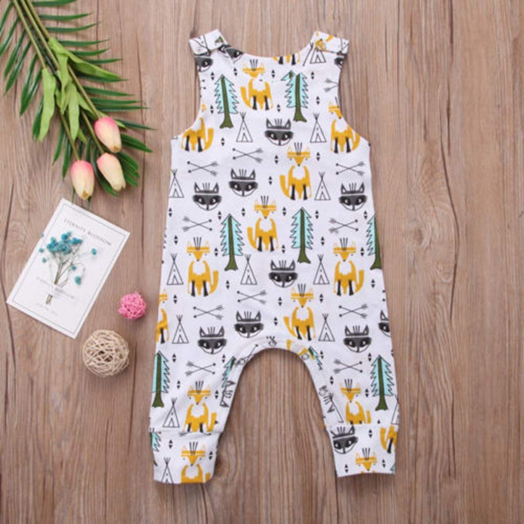 Cute Long Fox Sleeveless Baby Boy Girl Infant Romper Jumpsuit Cotton Clothes