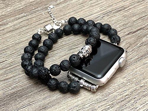 Lava Series (Black Lava Stones Bracelet For Apple Watch Series 1 2 & 3 Handmade Multi Wrap Natural Volcanic Beads Band Buddha Head Charm Smart Watch Essential Oil Aromatherapy Wristband)