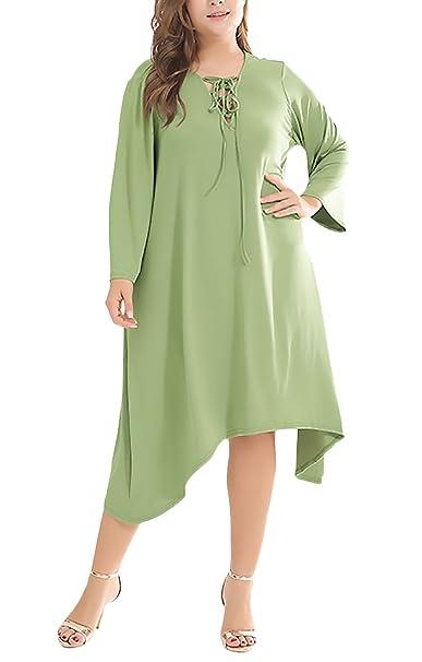 Vestidos Playa Mujer para Gorda Elegantes Moda Manga Larga V Cuello Irregular Asimétrica Suelta Casual Vestido