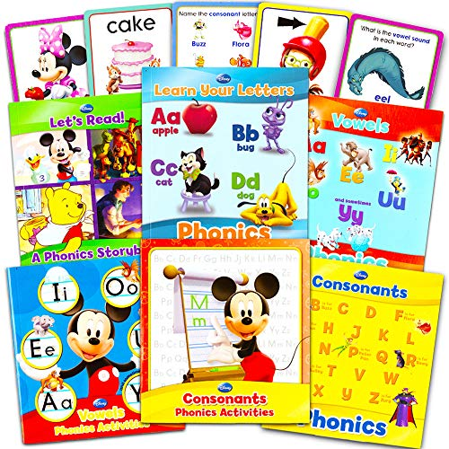 (Disney Educational Disney Learning Phonics Box Set -- 4 Learn to Read Books, 2 Writing Activity Books, 24 Jumbo Flash Cards Toys)
