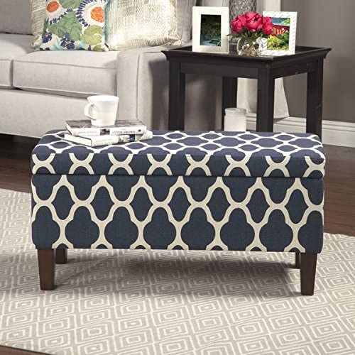 HomePop Large Decorative Storage Ottoman Blue