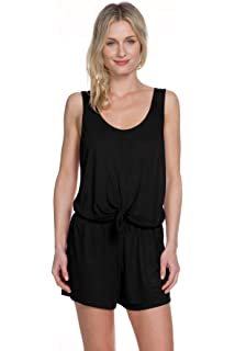 73574ee113b2a Becca by Rebecca Virtue Women's Breezy Basics Knot Front Romper Swim Cover  Up