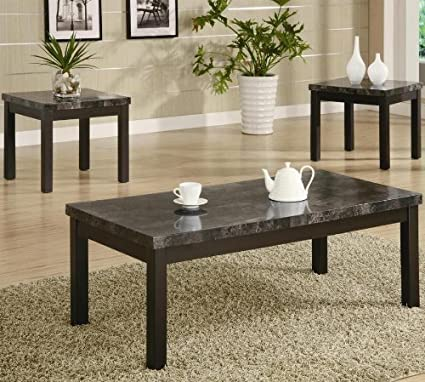 amazon com 3pc coffee table and end tables set with marble top in