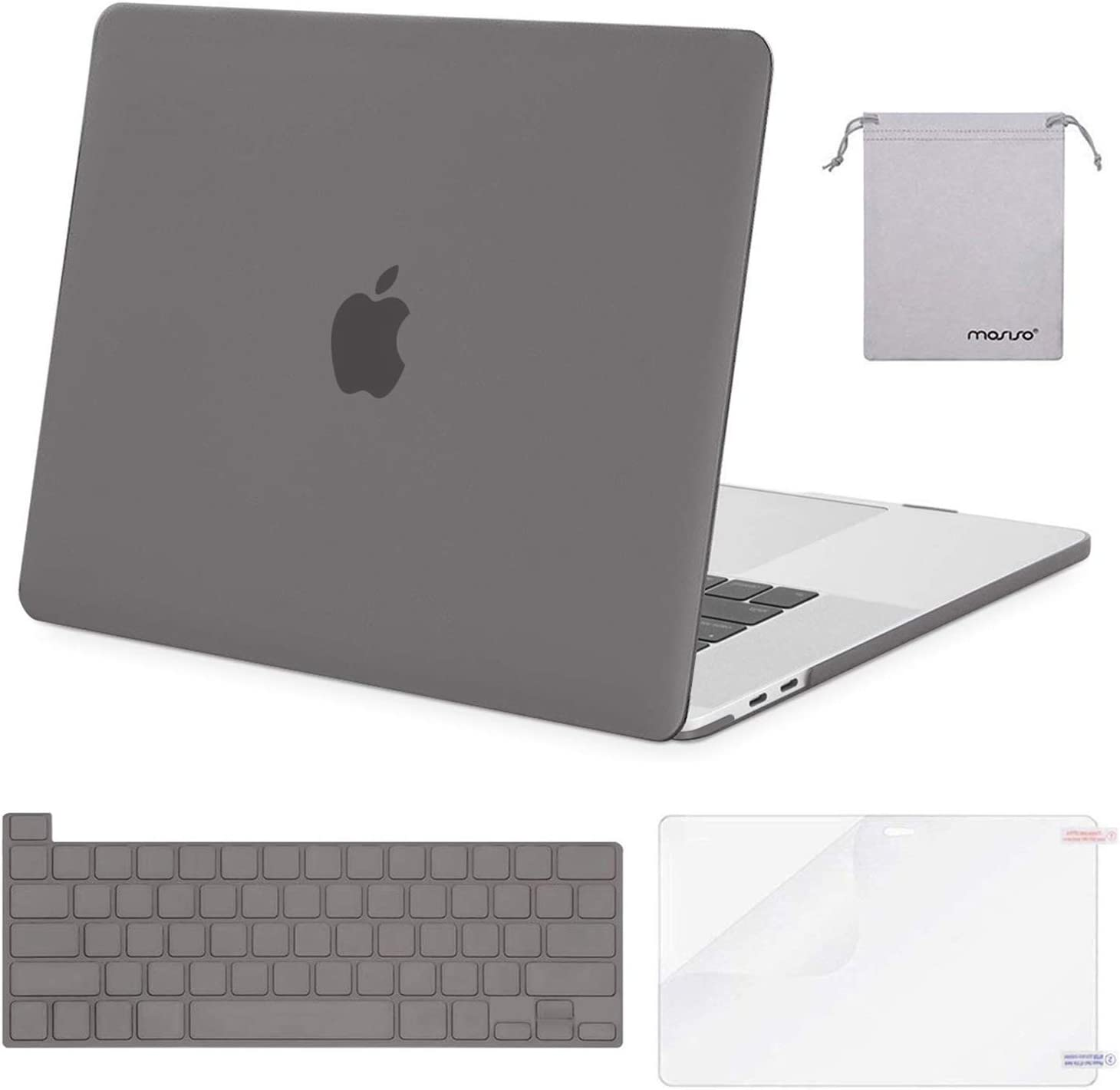 MOSISO MacBook Pro 16 inch Case 2019 Release A2141 with Touch Bar & Touch ID, Plastic Hard Shell Case & Keyboard Cover & Screen Protector & Storage Bag Compatible with MacBook Pro 16, Gray