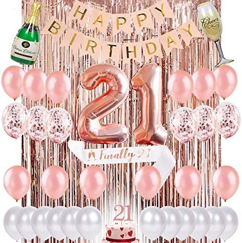 21st Birthday Decorations 21 Birthday Party Supplies Rose Gold Confetti Balloons for her Finally Legal 21 Silver Curtain Photo booth backdrop