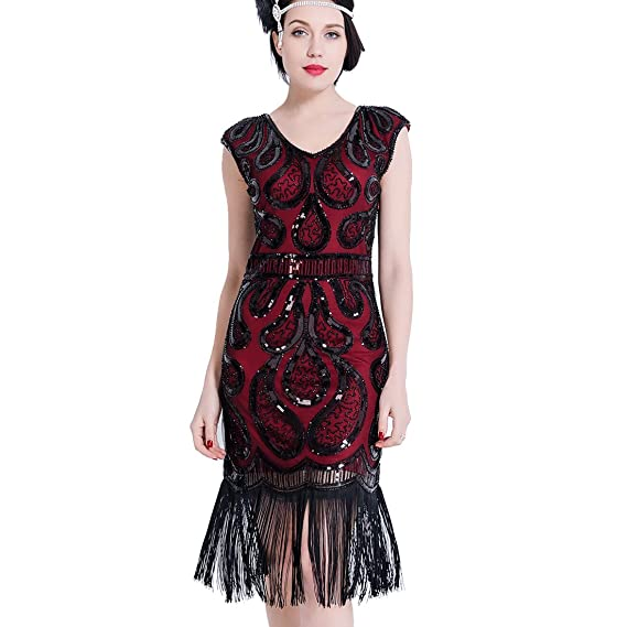 2b1c1389 Women Flapper Dress V Neck Fringe Sequin 1920s Vintage Gatsby Dress Art  Deco for Prom Party: Amazon.co.uk: Clothing
