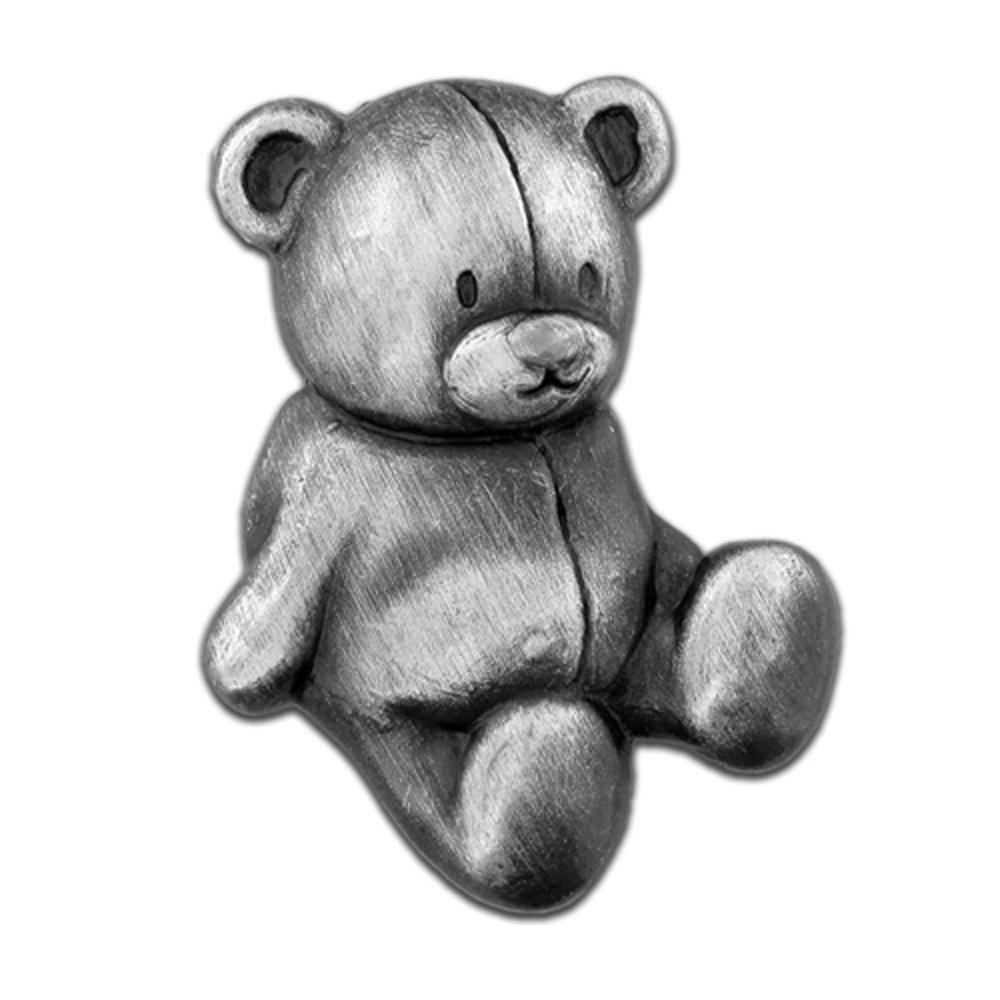 PinMart's Antique Silver Teddy Bear Stuffed Animal Lapel Pin